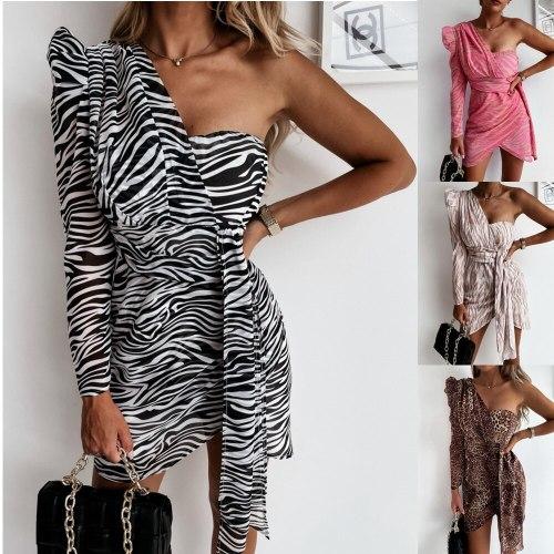 Autumn Long-sleeved Strapless Strap Print Bag Hip Dress Fashionable Sexy Women's Irregular Temperament Leopard Print Short Dress