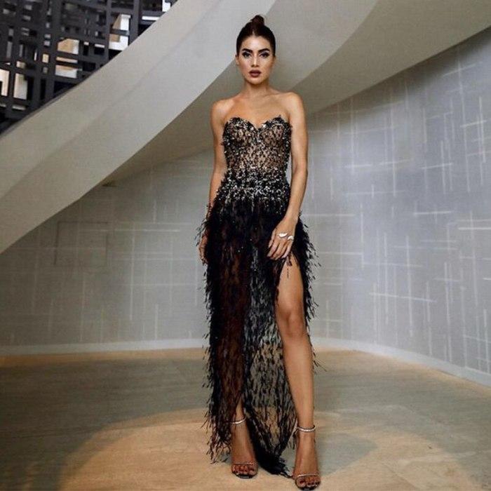 Formal Dress Summer Ladies Sexy Sleeveless Split Strapless Dress Floor-Length Thread Tassel Dresses Women Sexy Club Party Dress