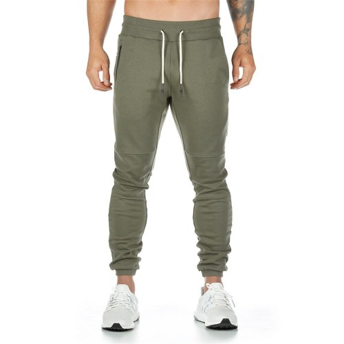 Jogging Solid Color Sports Pants Men's Fashion Slim Cotton Zipper Pockets 2021 Spring And Autumn Hot-Selling Cropped Trousers