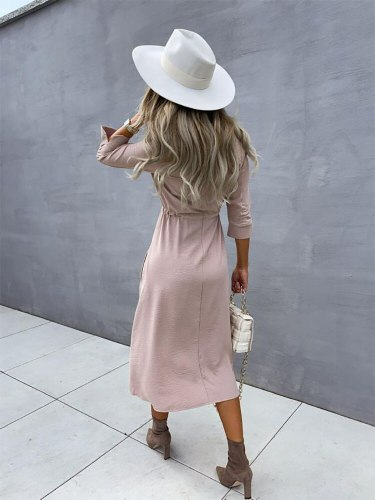 New Women Vintage Front Button Mid Dress Solid Sashes V-neck Half Sleeve Casual Belt Waist Patchwork Office Lady Summer Sundress