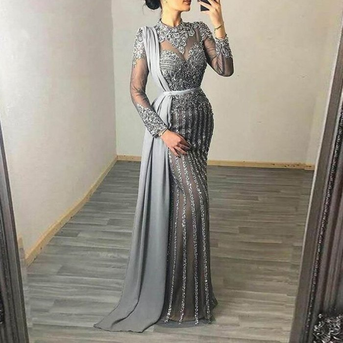 Party Dresses Long Sleeve Lace Patchwork Mesh See Through Night Clubwear Floor-length Chic Woman Dress Elegant Robe