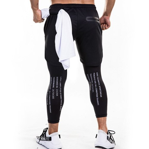 Men's Fitness Quick-drying 2 In 1 Double-layer Skintight Tracksuit Pants Gym Jogging Running Sport Pants Fake Two Piece Shorts