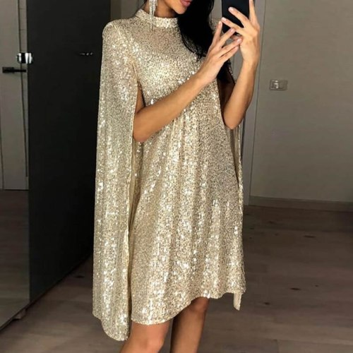 Ladies Elegant High Neck Sequin Cocktail Dress With Sleeves For Cocktail Party Loose Short Formal Dress Robe De Cocktail Femme