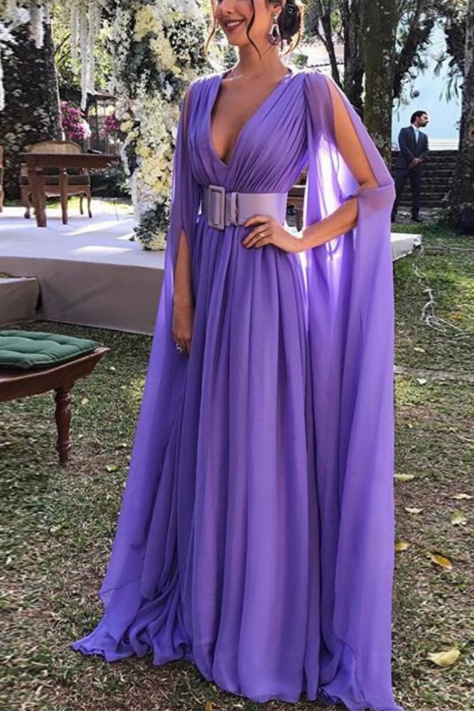 2021 Women's Summer Dress Vintage Party Night Sexy Dresses Plus Size Elegant Purple Deep V-neck Long Dress