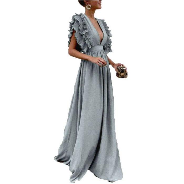 Green Dress For Women 2021 Summer New Sexy Elegant V-neck Ruffle Sleeve Party Ladies Long Dresses Female