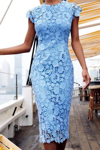 2021 Summer Women Lace Party Dress Short Sleeve Knee Length Blue Sexy Bodycon Pencil Dress