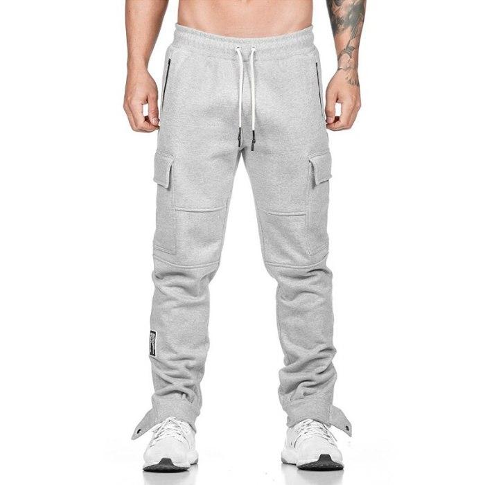 Men Cotton Joggers Pants Pockets Cargo Pants Gym Running Casual Trousers Men's Fitness Sweatpants Sports Pants