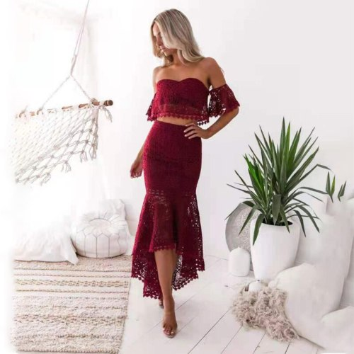 Summer Two Piece Set Women Skirt Sexy Lace Backless Crop Top High Waist Bodycon Mermaid Skirt White Elegant Party Outfits 2021