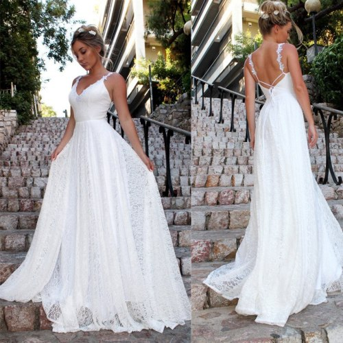Summer Long White Party Dress Women Ladies Spaghetti Strap Lace Maxi Dress Formal Wedding Evening Party Ball Prom Gown Dresses