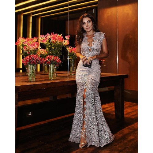 Wholesale Custom Retail Factory Price Good Quality New Women's Fashion Hot Selling Sexy V-Neck Slim Lace Dress