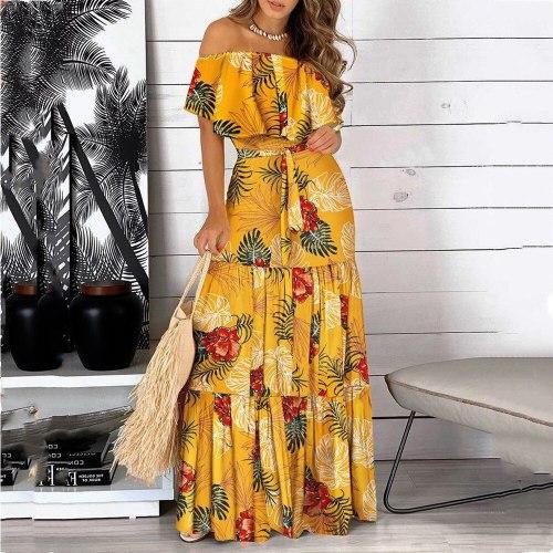 2021 Vestido Floral Print Boho Long Dresses Sexy Off Shoulder Ruffle Bohemian Summer Maix Dress Women Female Party Beach Dresses