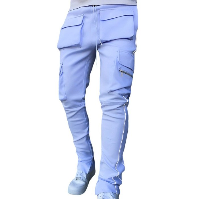 Being Vigor Mens Multi Pockets Cargo Sweatpant High Street Slim Fit Track Jogger Hip Hop Sport Pants with Reflective Pipings