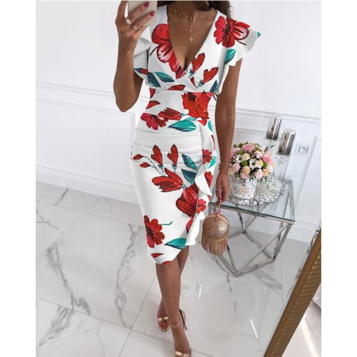 2021 Summer New Fashion Women's Clothing V-Neck Elegant Slim Print Pleated Ruffles Package Hip Female Dress Vestidos De Fiesta