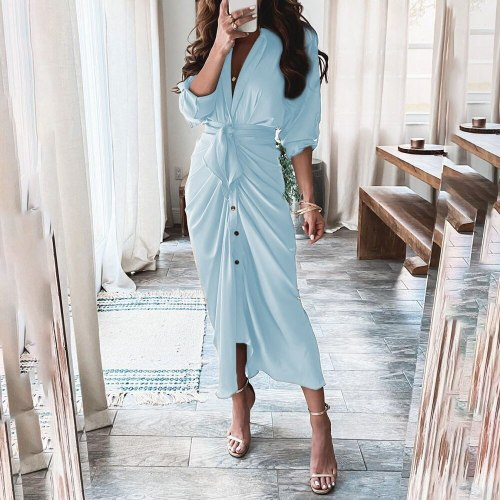 Elegant Ladies Shirt Dress autumn Fashion Turn-down Collar Party Clothes Woman Casual Button Belt Folds Irregular Long Dresses