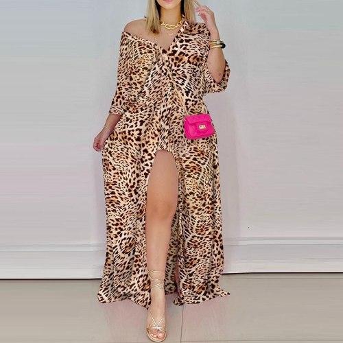 Elegant Print V Neck Long Shirt Dress 2021 Autumn Long Sleeve Loose Casual Maxi Dresses Women Button Sexy High Slit Party Dress