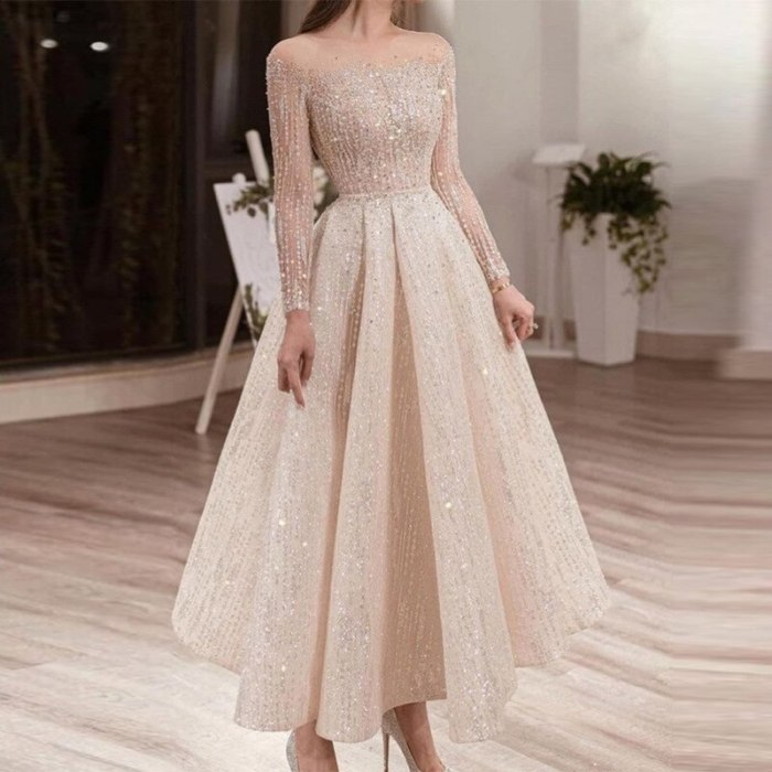 Summer Mesh Sequined Dress Round Neck Long Sleeve Slim Fit Mid-length Dress Gothic Sexy Dress Evening Prairie Chic Diamonds