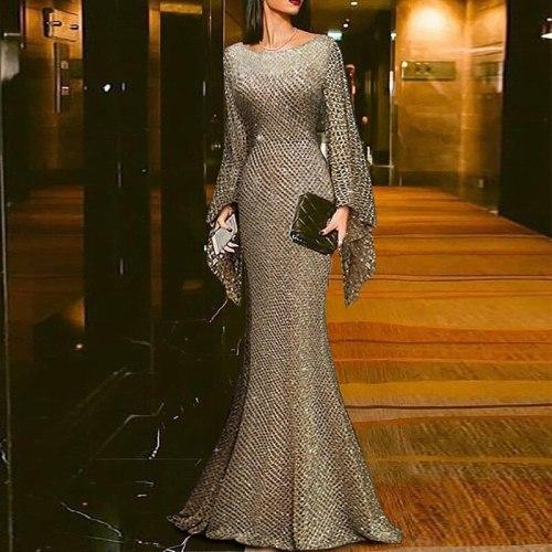 Plus Size 2021 Women Summer Dress Sexy Vintage Elegant Party Night Long Sleeve Maxi Dress