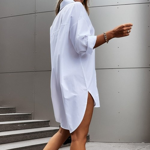 Autumn Women Shirts White Plain Loose Oversized Blouses Female Tops Loose BF Korean Style Blusas Pockets Harajuku Tops
