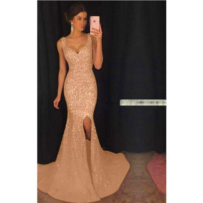 New Women's Sexy Deep V Sling Dress Slim Sequined Dress