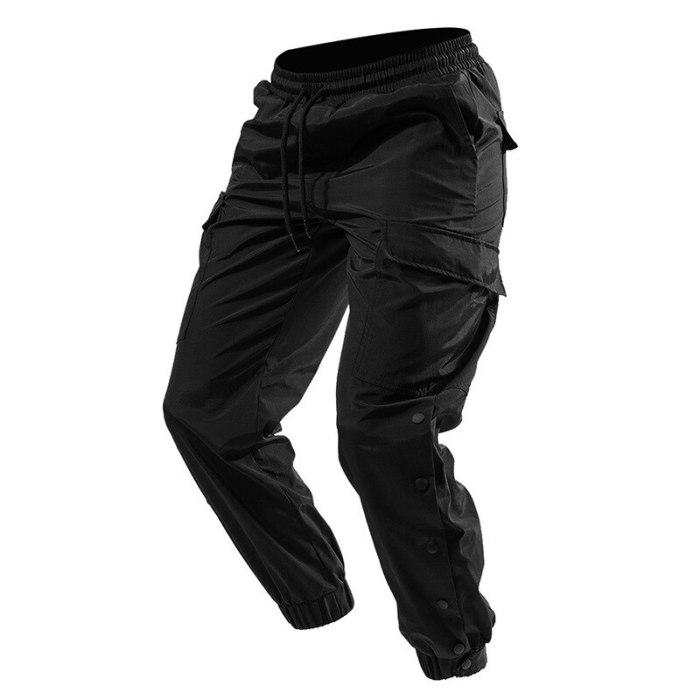 Tactical Multi Pocket Cargo Pants Side Split Snap Button Jogger Hip Hop Skateboard Long Pant Streetwear