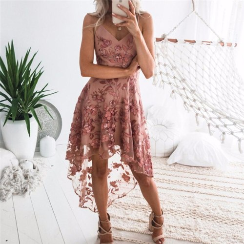 Summer Women Flower Lace Dress New Fashion Mid-Calf Sleeveless Spaghetti Strap Party Dresses Elagent Female Bandage Vestidos