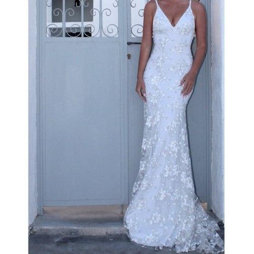 White Dress Wedding Woman Sexy Strapless Deep V-neck Lace Embroidered Floor-length Long Dress Bridesmaid Women Vestido Summer