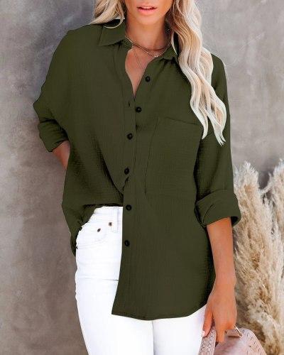 2021 Autumn Cotton Linen Long Sleeve Women's Shirt Turn-down Collar Solid Female Shirts Fashion Loose Office Elegant Ladies Top
