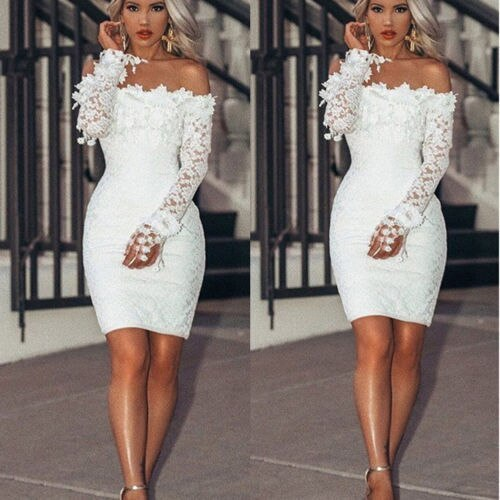 2021 New  Womens Lace  Dress Lone Sleeve Evening Party Summer Beach Short Sundress
