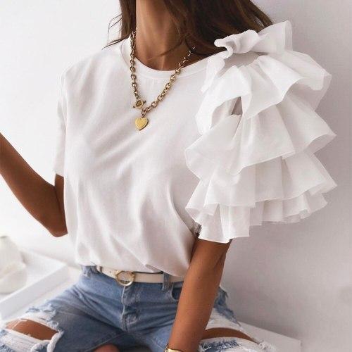 Solid Women Tshirt Fashion Ruffles Short Sleeve Round Neck Tunic Casual Summer Tops