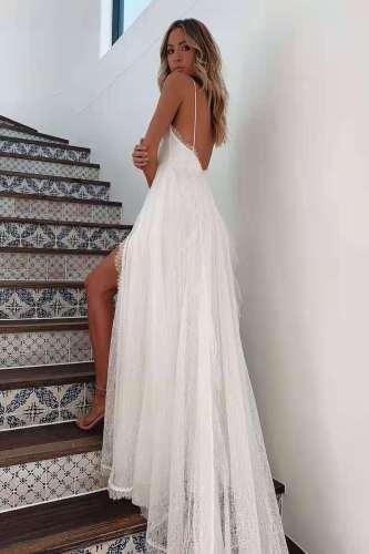 2021 Summer European and American Women's New Beach Dress Hot Sale Sexy Suspender Split Dress for Ladies Vestido Feminino