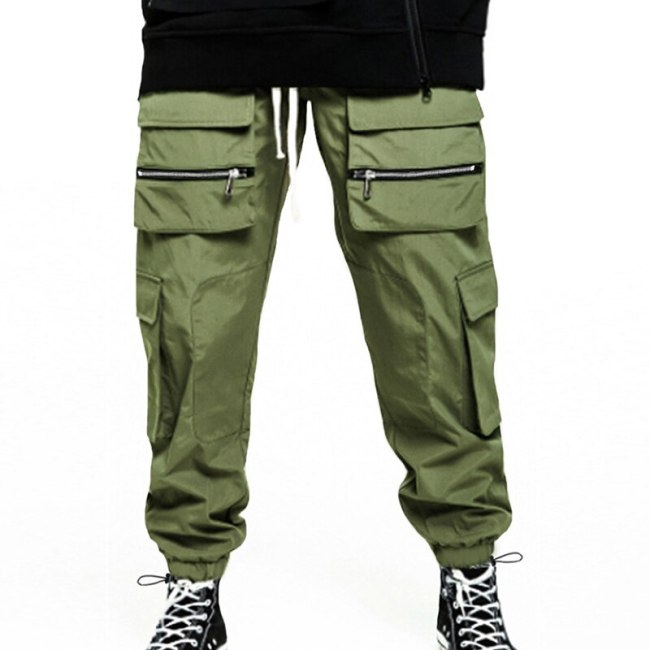 Men's Thin Casual Trousers Men's Loose Popular Logo Overalls Men's Loose Overalls Solid Color Drawstring Cut-up Small Foot Track
