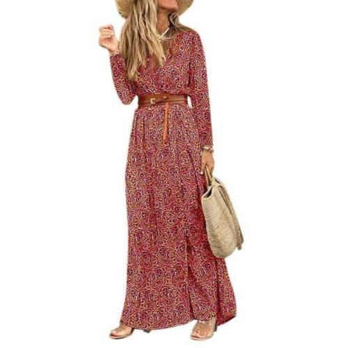 Women Boho Floral Long Dress Ladies Holiday Beach  Maxi   Sleeves