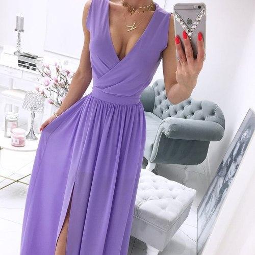 2021 Summer Solid Color Dress Deep V-Neck Sleeveless Beach Party Dresses Formal Ladies Elegant Chiffon Dress Vestidos De Fiesta
