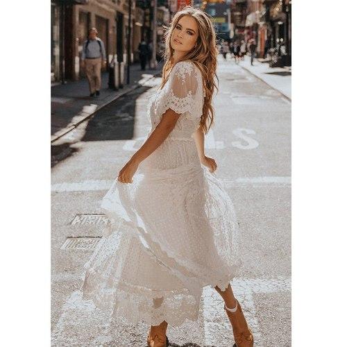Women Fashion Dress For2021 Summer Casual Short Sleeved V-Neck Mid-Calf Lace Vestiods White Beachwear