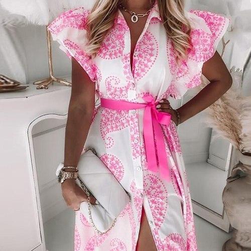 Elegant Butterfly Sleeve Long Dress 2021 Summer Casual Turn-down Collar Button Shirt Dress Women Fashion Print Slit Party Dress