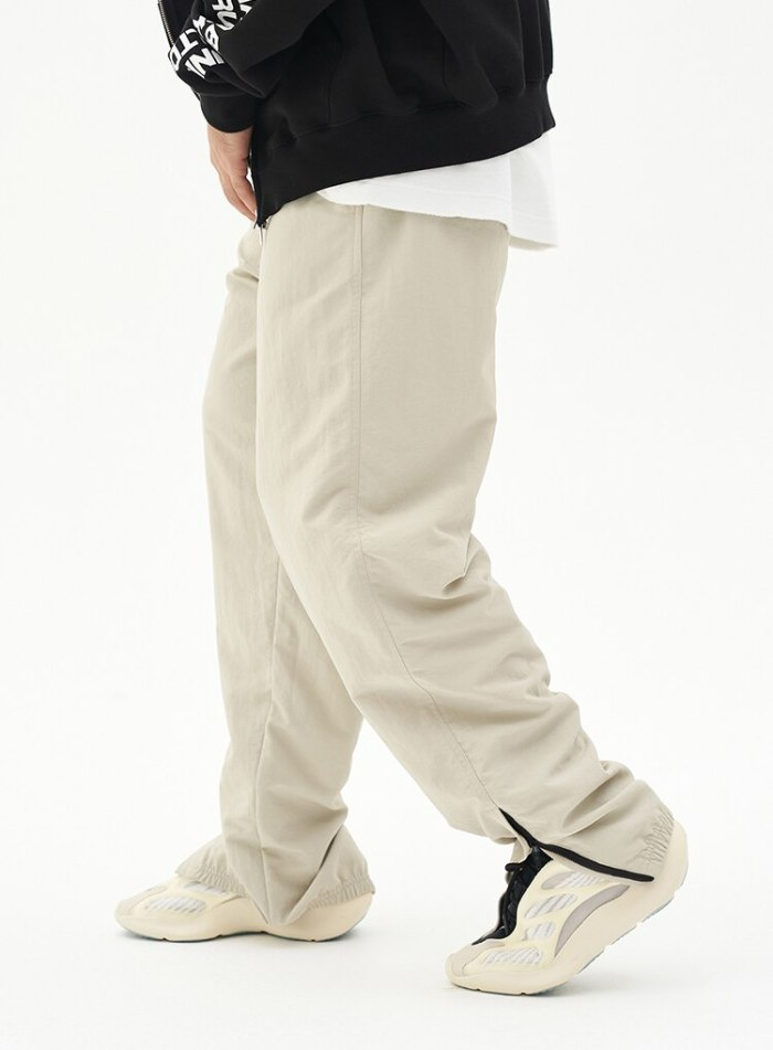 Hip Hop Men's Loose Straight Knit Trousers Large Size Quick Dry Trend Zip Small Foot Wide Leg Trousers Streetwear
