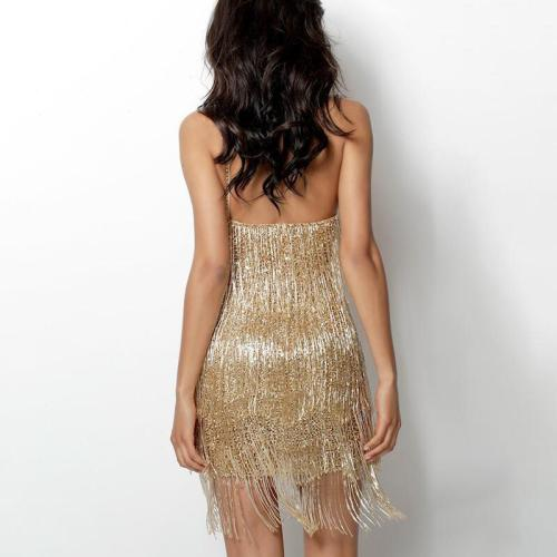 Sexy Gold Gatsby dress Women Elegant Tassel One Shoulder Sleeveless Bodycon Mini Dress Clubwear Glitter Party Dresses Vestidos