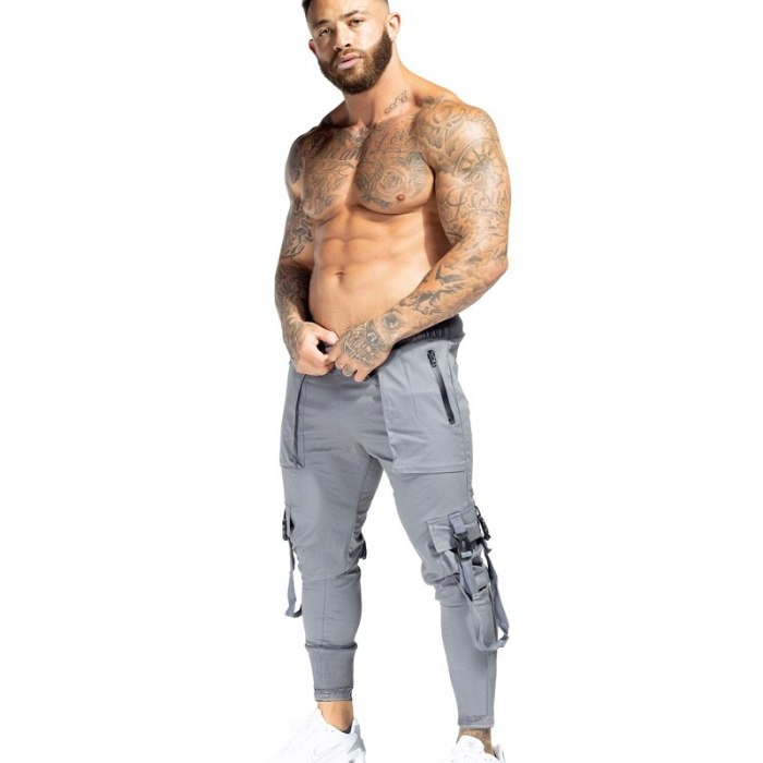 Autumn Men Ribbons Streetwear Sproting Cargo Pants  Hip Hop Joggers Gym Pants Overalls Fashions Baggy Pockets Trousers