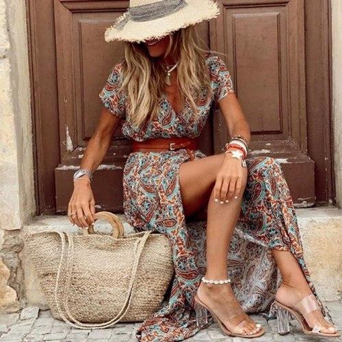 Boho Long Dress for Women Paisley Print Elegant Dresses with Belt V Neck Summer Dress Large Hem Beach Dresses Robe Femme 2021