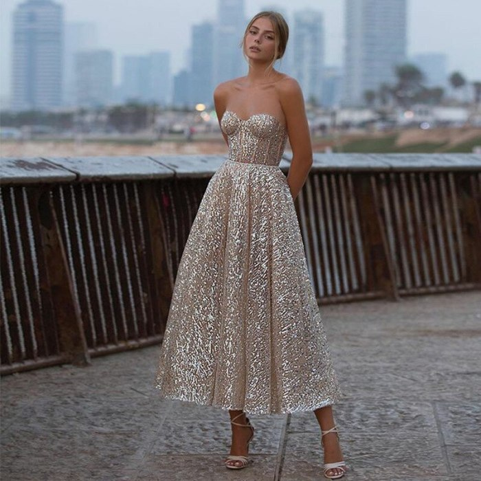 Golden Sexy Deep V Tube Top Shiny Short Sweetheart Halter Neck and Ankle Long Bridal Gown Shiny 2021 Party Dress Ladies Apparel