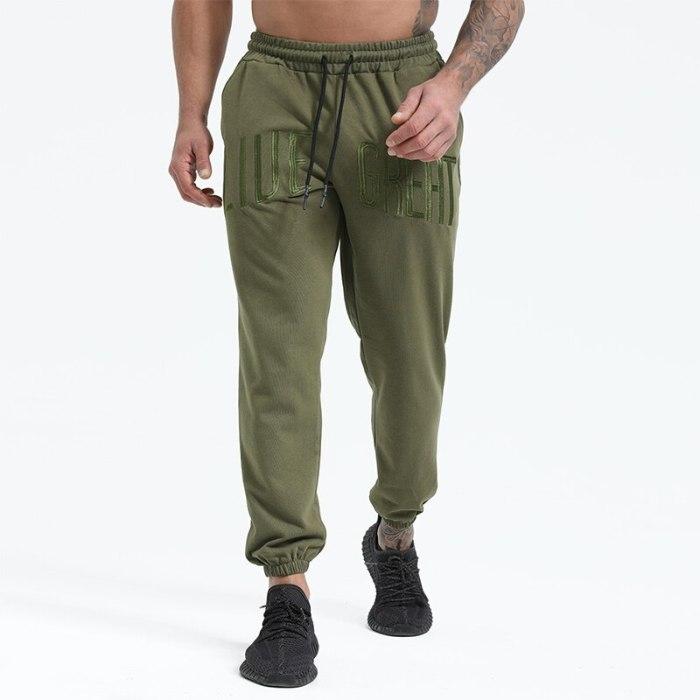 2021 Men's Casuals Korea popular logo Loose Straight-leg Trousers Pure Color Running Trousers Men baggy pants