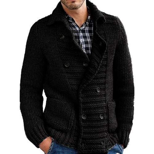Men Solid Color Knitted Sweater Buttons Cardigan Warm Jacket Coat New Casual Sweater Jacket Long Sleeve Turn Down Collar Sweater