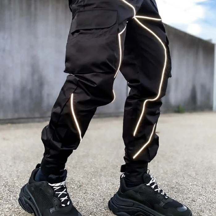 Cargo Pants Men Cargo Pants With Pockets Reflective Solid Color Legging Running Sports Multi Pocket Trousers