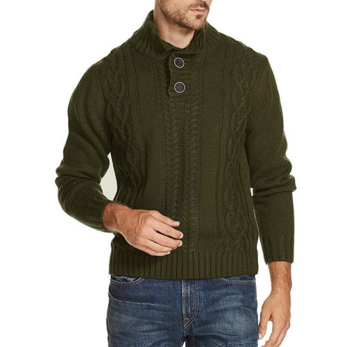 Men's coat Stylish Long Sleeve Stand Collar Button solid color autumn winter warm casual sweater Knitting Coat Streetwear
