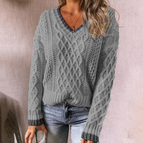 Autumn Deep V Neck Twist Sweater Women Patchwork Long Sleeve Tops Pullover 2021 Winter Loose Office Lady Knitted Sweater Jumper