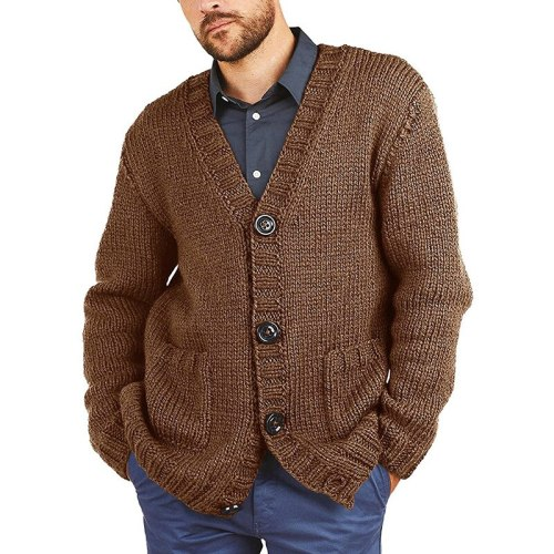 2021 Autumn And Winter New Sweater Men's Solid Color V-Neck Long-Sleeved Knitted Cardigan European And American Men's Wear