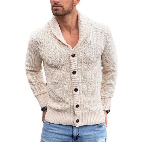 Men Cardigan Sweater Autumn Winter Men Knit Coat Casual Streetwear Coat Cardigan Coat Men Solid Color Army Green Sweaters