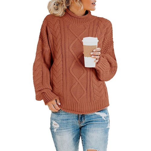 Women Turtleneck Knitting Sweaters Fashion Pullovers Oversized Female Winter Loose Solid Color Casual Sweater Ladies Tops 2021