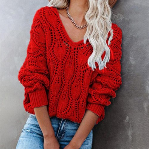 Casual Solid V-Neck Sweater Women Fashion Loose Hollow Out Knitted Jumper Female 2021 Autumn Winter Long Sleeve Sweaters Elegant