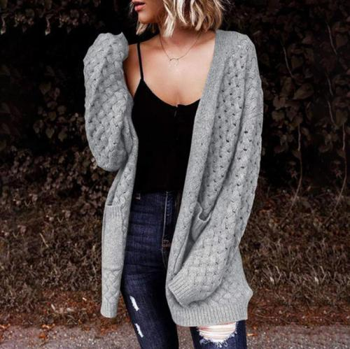 Knitted Long Cardigan Autumn Winter Hollow Out Casual Pocket Cardigans Overwear Office Ladies Loose Basic Sweater Coats